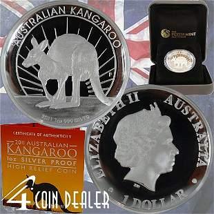 2011-P 1 Oz Proof Silver Kangaroo - High Relief