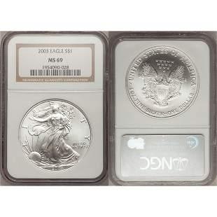 2003 1 Oz Silver American Eagle MS69 NGC