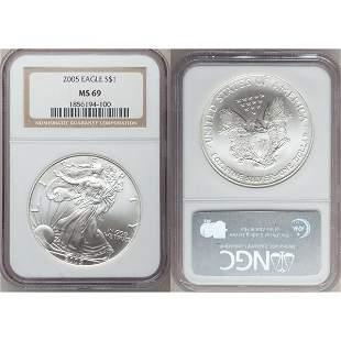2005 1 Oz Silver American Eagle MS69 NGC