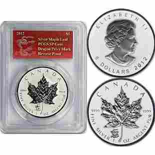 2012 1 Oz Silver Maple Leaf - Dragon Mark SP GEM PCGS