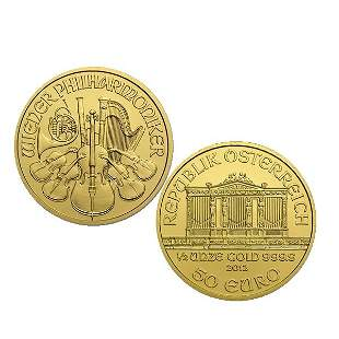 1/2 Oz BU 24k Gold Austrian Vienna Philharmonic