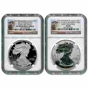 2012-S Silver Eagle Set 75th Anniv ER PF69 NGC