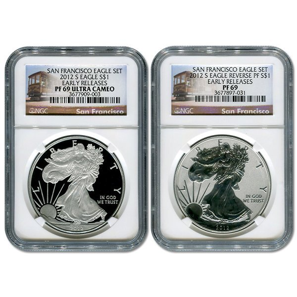 2012-S Silver Eagle Set 75th Anniv ER PF69 NGC