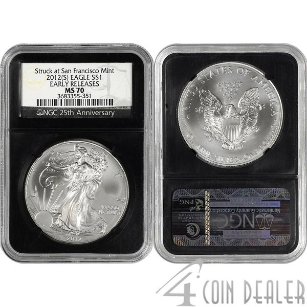 2012-(S) Silver Eagle Retro Holder ER MS70 NGC