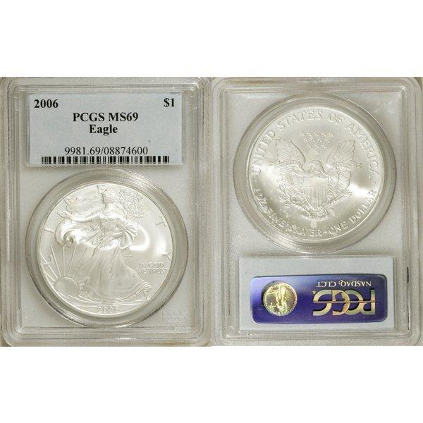 2006 1 Oz Silver Eagle MS69 PCGS