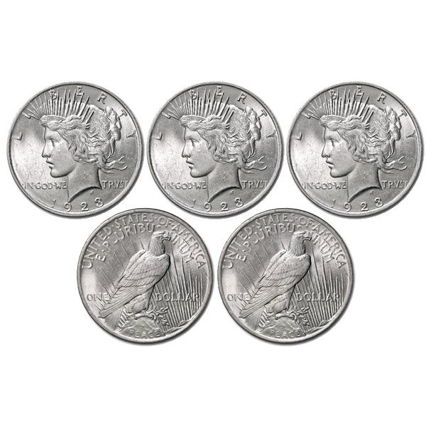(5) Peace Silver Dollars - Uncirculated