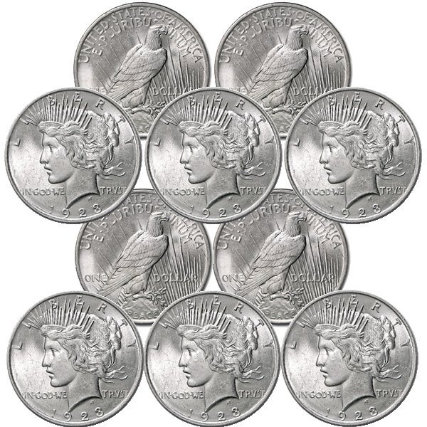 (10) Peace Silver Dollars - Uncirculated