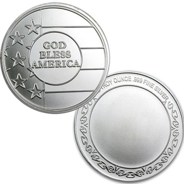 1 Oz God Bless America Design Silver Round .999 Fine