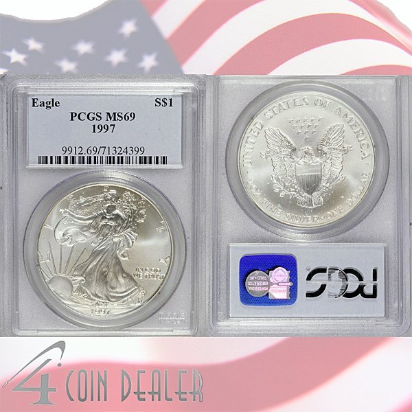 1997 1 Oz Silver Eagle MS69 PCGS