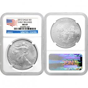 2012 1 Oz Silver Eagle Flag Label ER MS69 NGC