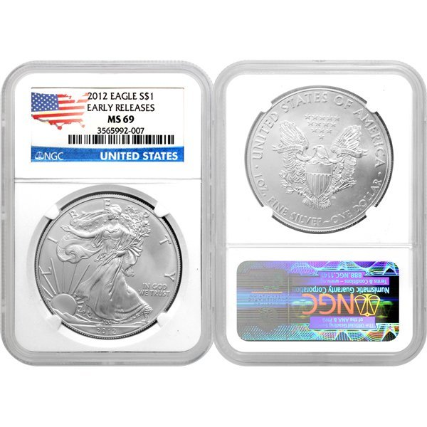2012 1 Oz Silver Eagle Flag Label ER MS69 NGC