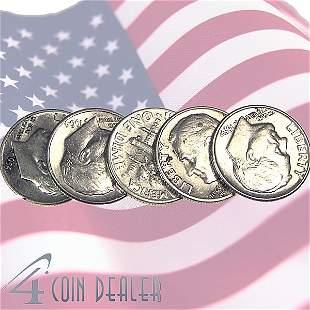 (5) 90% Silver BU Roosevelt Dimes