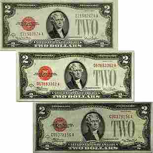 (3)1928-D F G $2 Bills - Red Seal Note
