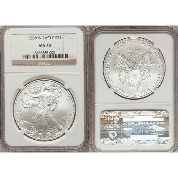 2008-W 1 Oz Burnished Silver Eagle MS70 NGC