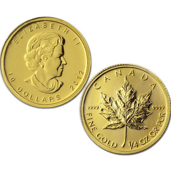 1/4 Oz BU 24k Gold Canadian Maple Leaf - Random Date!