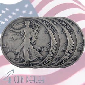 (5) 90% Silver Walking Liberty Half-Dollar