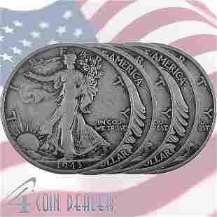 (5) 90% Silver Walking Liberty Half-Dollar