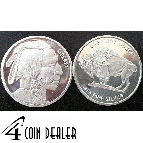 1 Oz Buffalo Design Silver Round .999 Fine