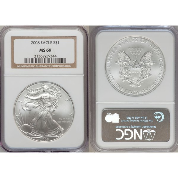 2008 1 Oz Silver American Eagle MS69 NGC