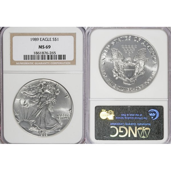1989 1 Oz Silver American Eagle MS69 NGC