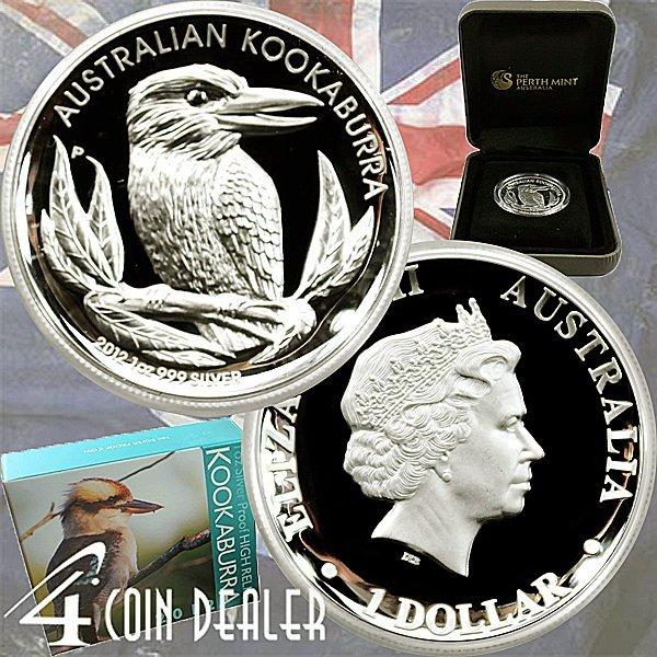 2012-P 1 Oz Proof Silver High Relief Kookaburra