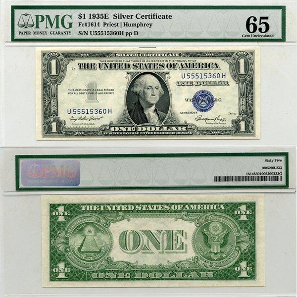1935-E $1 Silver Certificate Gem UNC 65 PMG