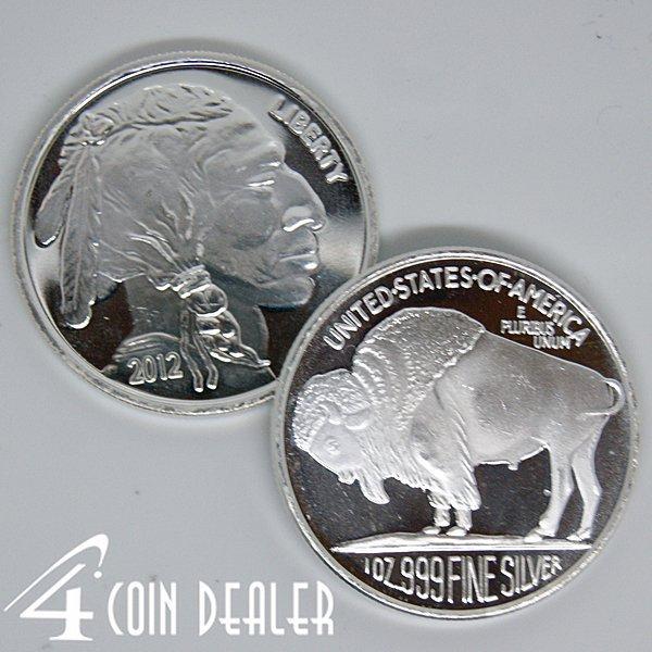 2012 1 Oz Buffalo Design Silver Round .999 Fine