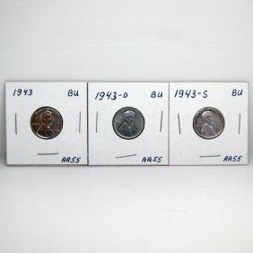 1943-P, -D, -S BU Steel Wheat Cents #AA55