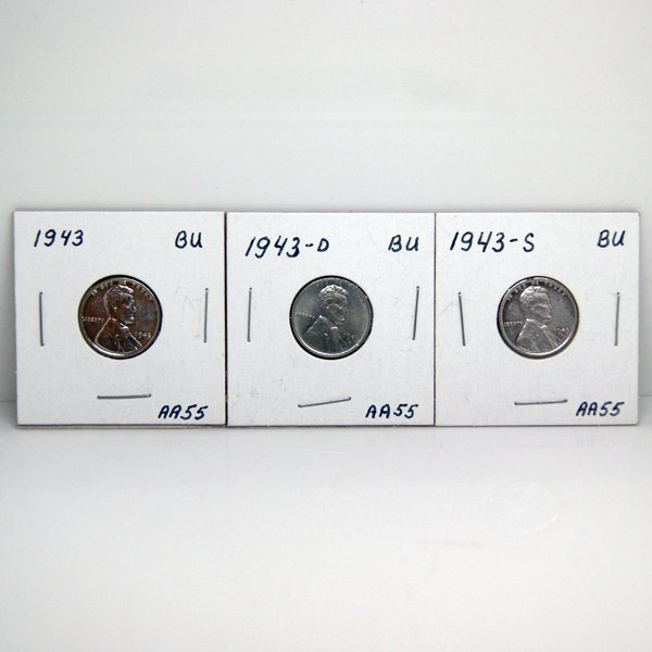 1943-P, -D, -S BU Steel Wheat Cents #AA55