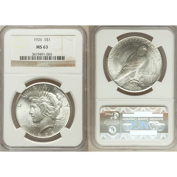 1926 $1 Peace Silver Dollar MS63 NGC