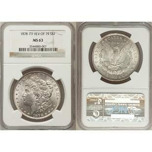 1878 $1 Morgan Dollar 7 TF Rev of 79 MS63 NGC