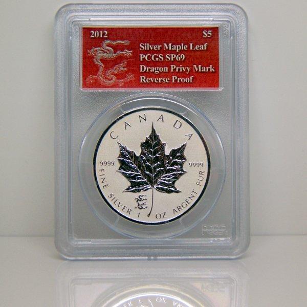 2012 1 Oz Silver Maple Leaf - Dragon Mark SP69 PCGS
