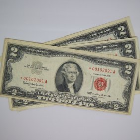 (3)1963 $2 Bill Red Seal - Star Notes