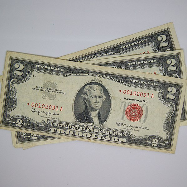 (3)1963 $2 Bill Red Seal - Star Notes