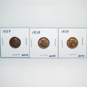 1937-38-39 BU Wheat Cents #AA70, #AA77, #AA78