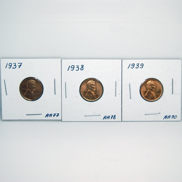 1937-38-39 BU Wheat Cents #AA70, #AA77, #AA78