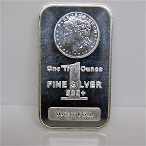 1 Oz Morgan Design Silver Bar .999 Fine