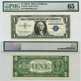 1957-A $1 Silver Certificate Gem UNC 65 PMG