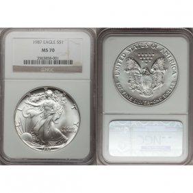 1987 1 Oz Silver American Eagle MS70 NGC
