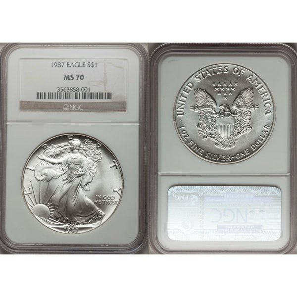 1987 1 Oz Silver American Eagle MS70 NGC