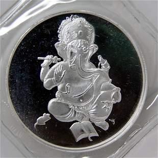 1 Oz Ganesha Design Silver Round .999 Fine