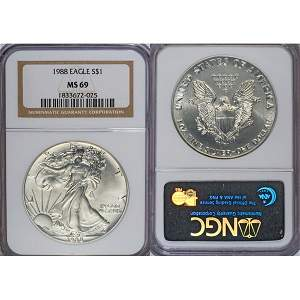 1988 1 Oz Silver American Eagle MS69 NGC