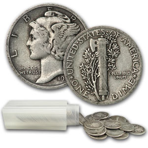 $5 Face Value of 90% Silver Mercury Dimes