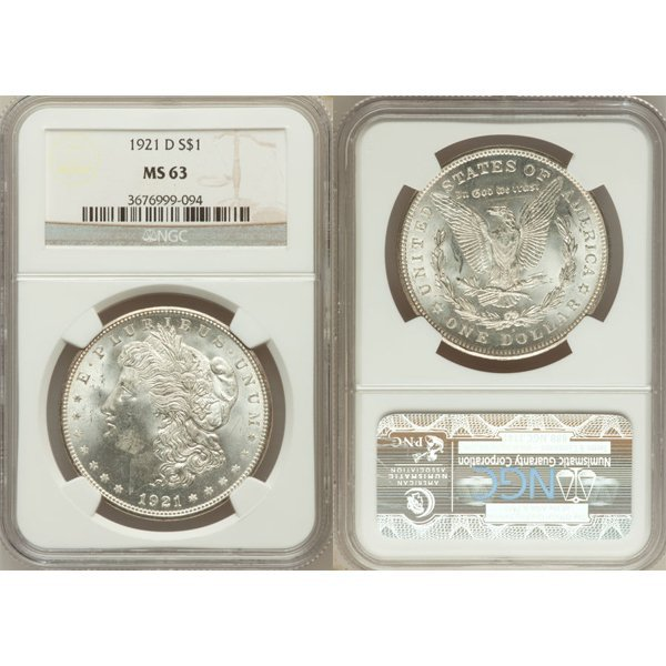 1921-D $1 Morgan Silver Dollar MS63 NGC