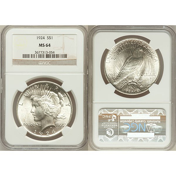 1924-S $1 Peace Silver Dollar MS63 NGC