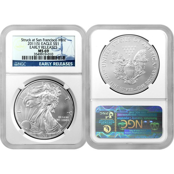 2011-(S) 1 Oz Silver American Eagle ER MS69 NGC