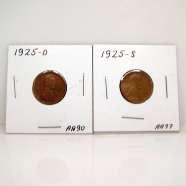 1925-D,1925-S Lincoln Wheat Cents #AA90, #AA97