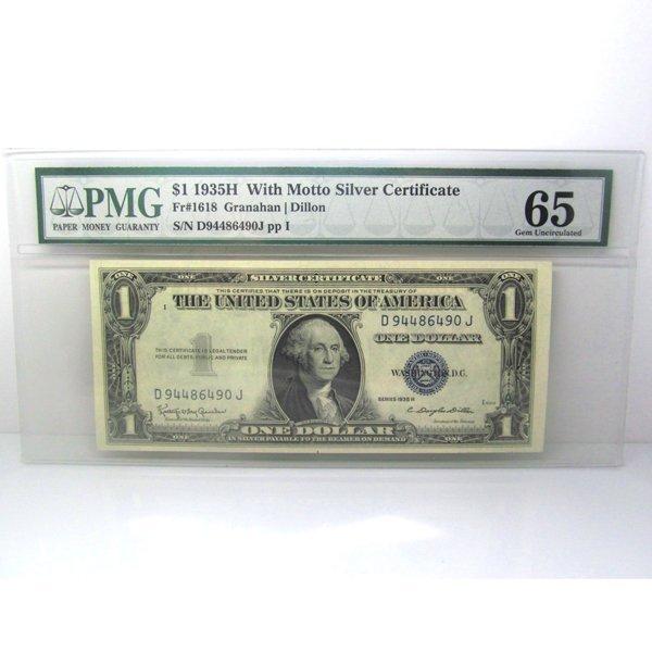 1935-H $1 W/Motto Certificate Gem UNC 65 PMG