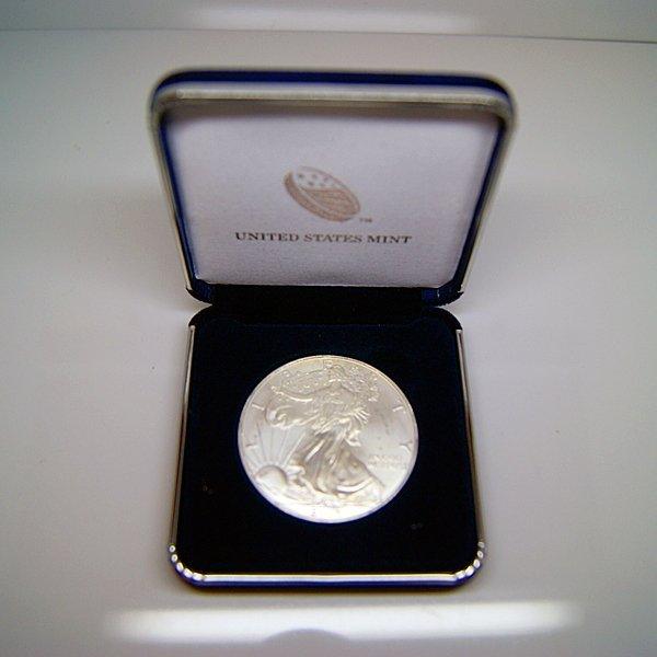 1 Oz BU Silver Eagle w/Government Case