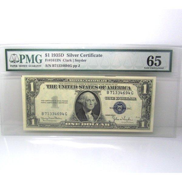 1935-D $1 Silver Certificate Gem UNC 65 PMG